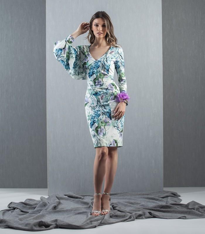 Vestido estampado manga flor