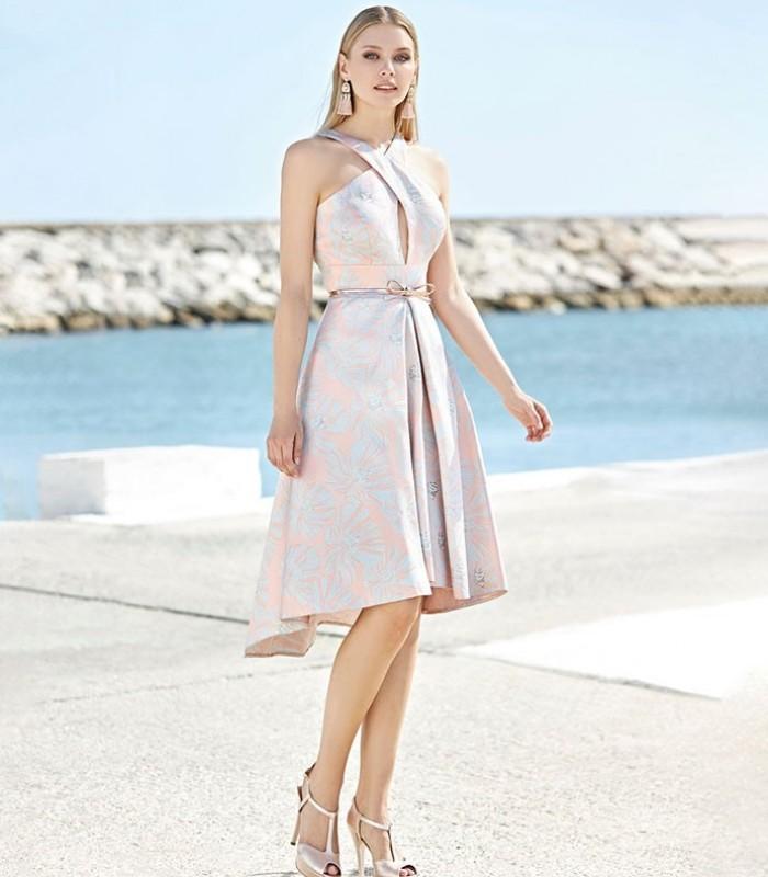 Short dress with wrap neckline and belt