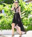Two-tone Marbella sleeveless midi dress