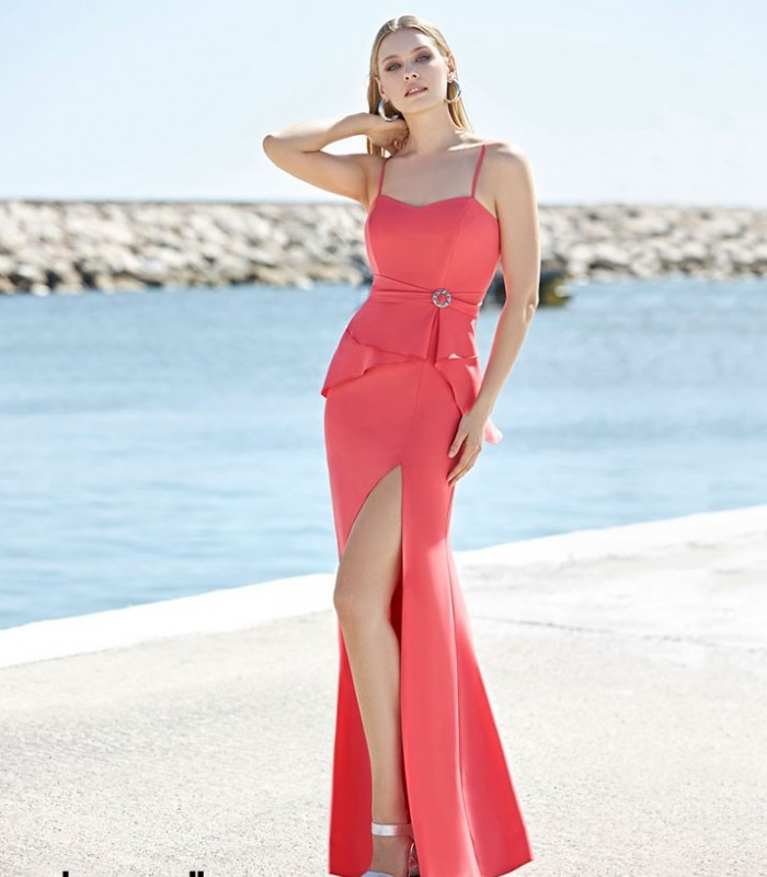 Vestido largo Marbella con volantes en la cintura