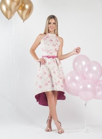 Halter dress with asymmetric skirt.