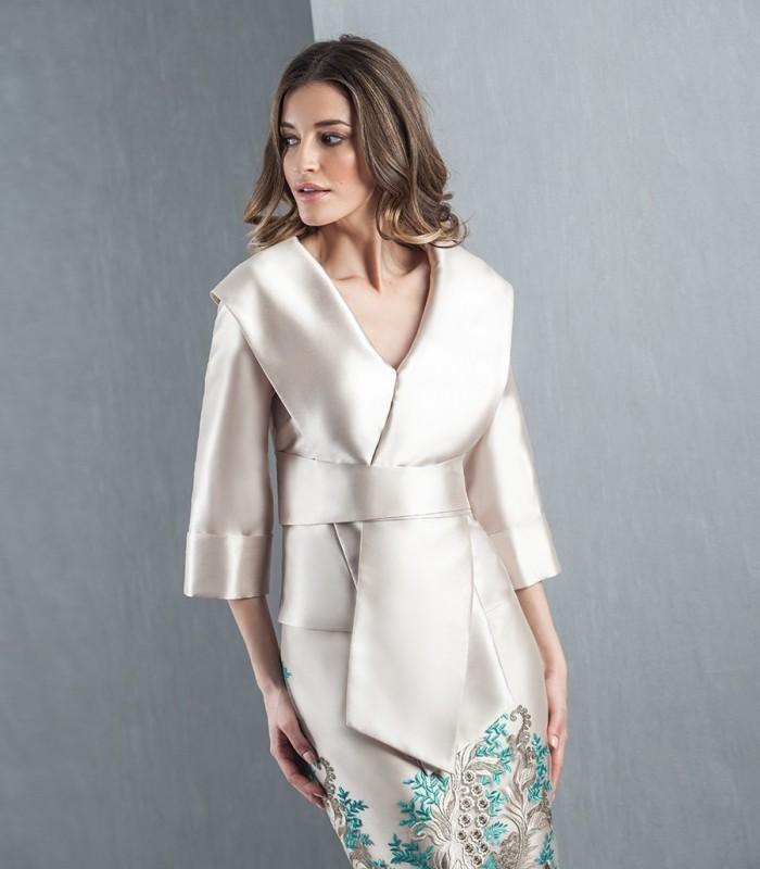 Wrap neckline and asymmetric lacing blouse