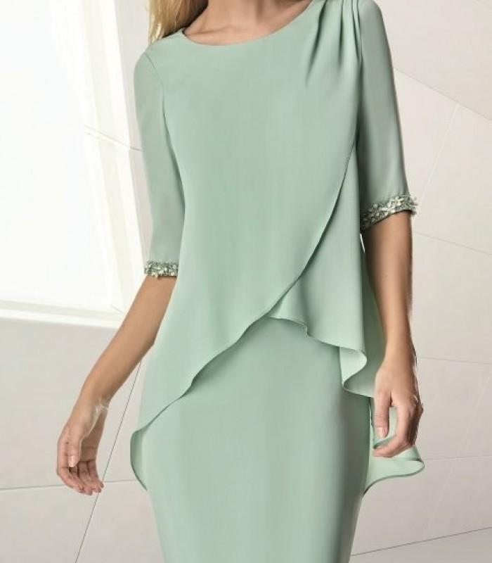 Short dress with crossed ruffles