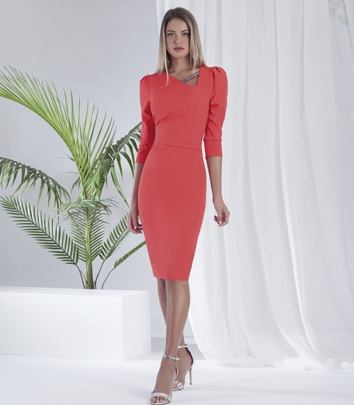 Asymmetric neckline midi dress