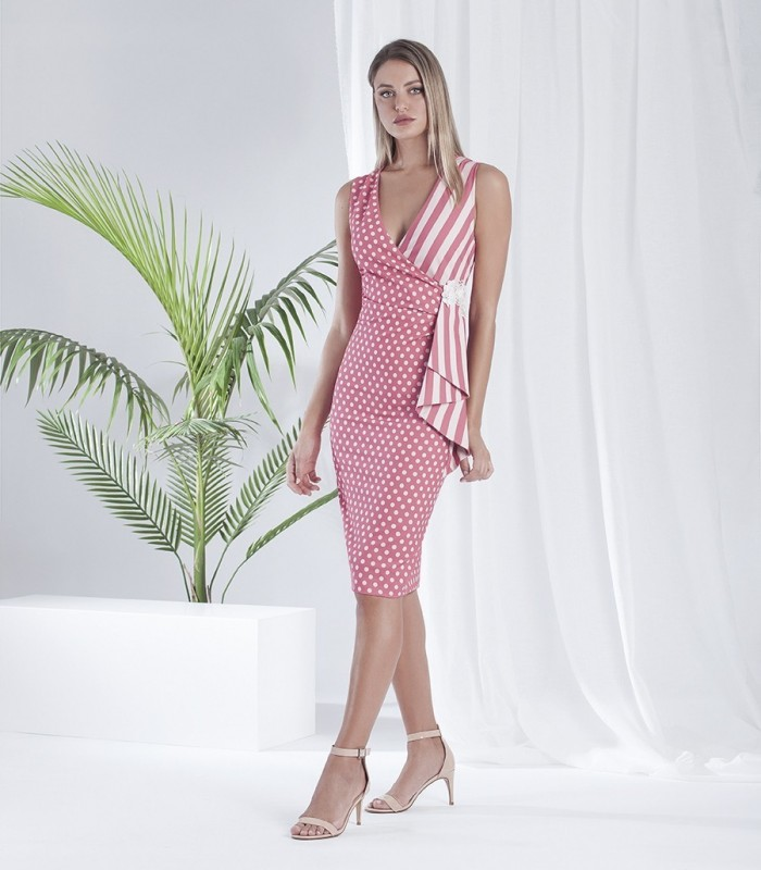 Asymmetric printed midi dress