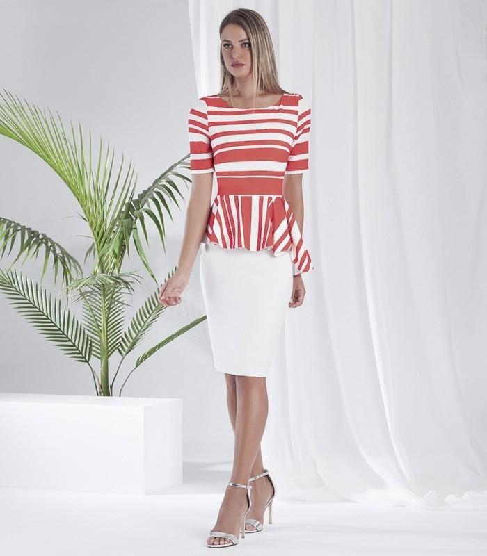 Straight dress with peplum