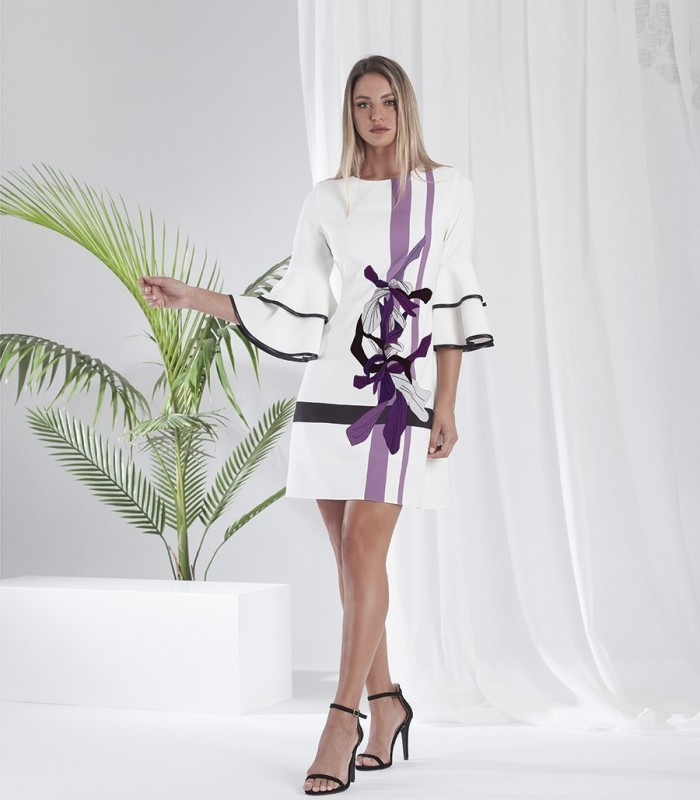 Printed evasé Dress