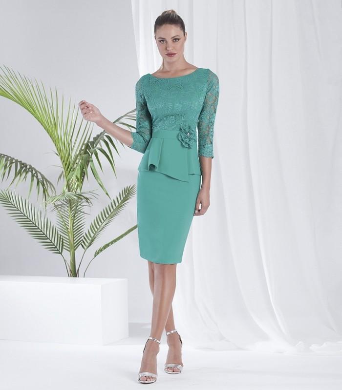 Peplum and bow midi dress