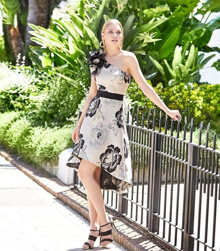 Vestido midi estampado Marbella con escote asimétrico