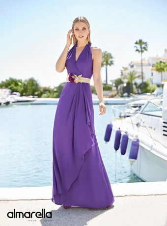 Long sleeveless dress Marbella with V neckline