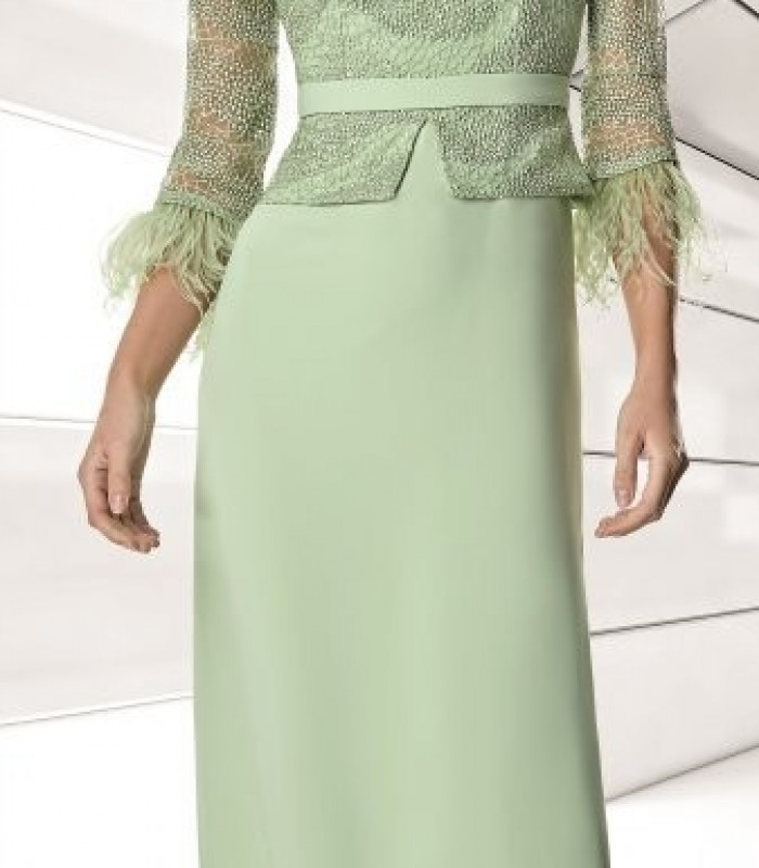 Long lace top dress with feathers on the sleeve