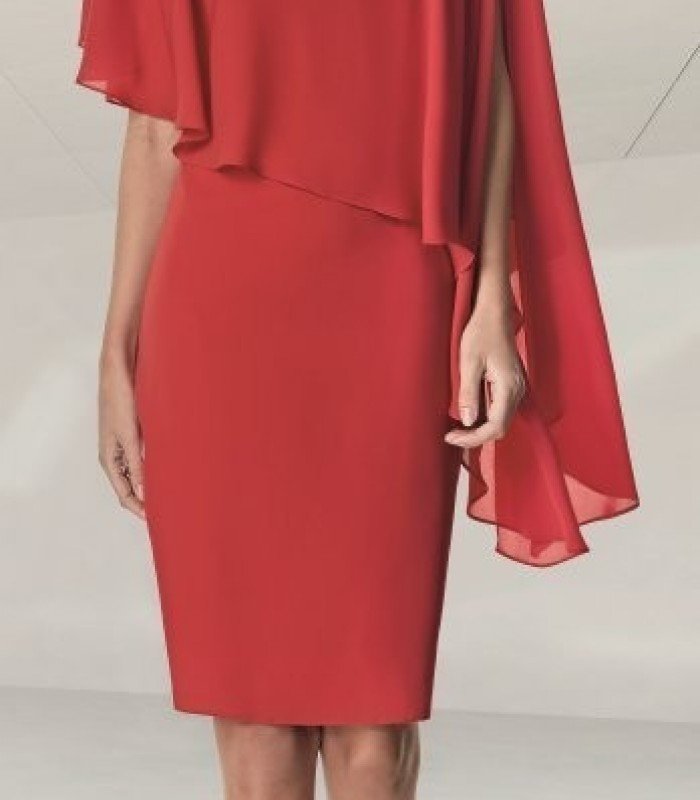 Red short dress with asymmetric ruffle sleeves