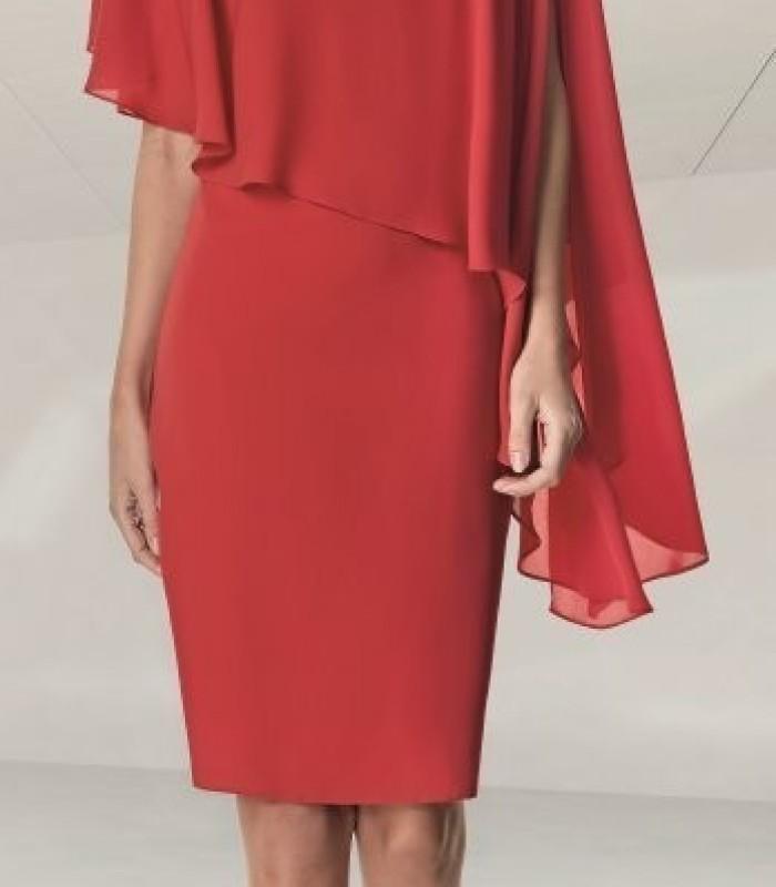 Vestido corto rojo con mangas de volante asimétrico