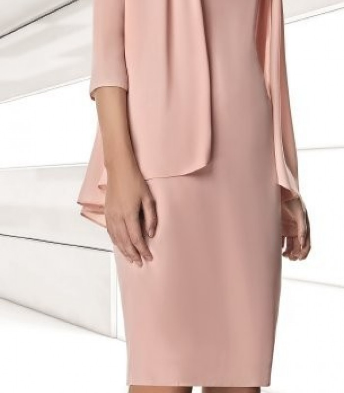 Pale pink short dress with pleated jacket