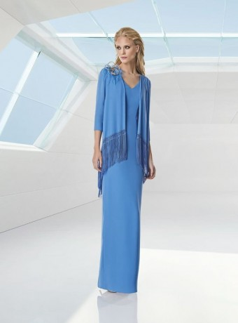 Blue dress with fringe jacket and brooch