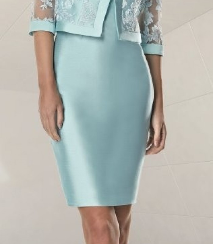 Light blue lace jacket and short dress