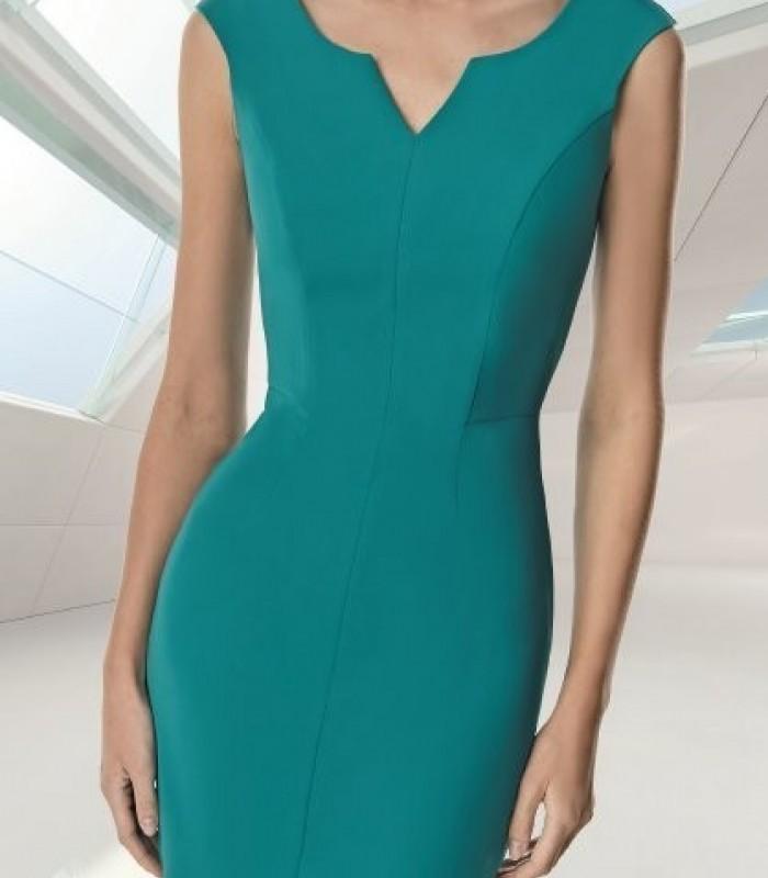 Chaqueta y vestido corto con escote mao azul