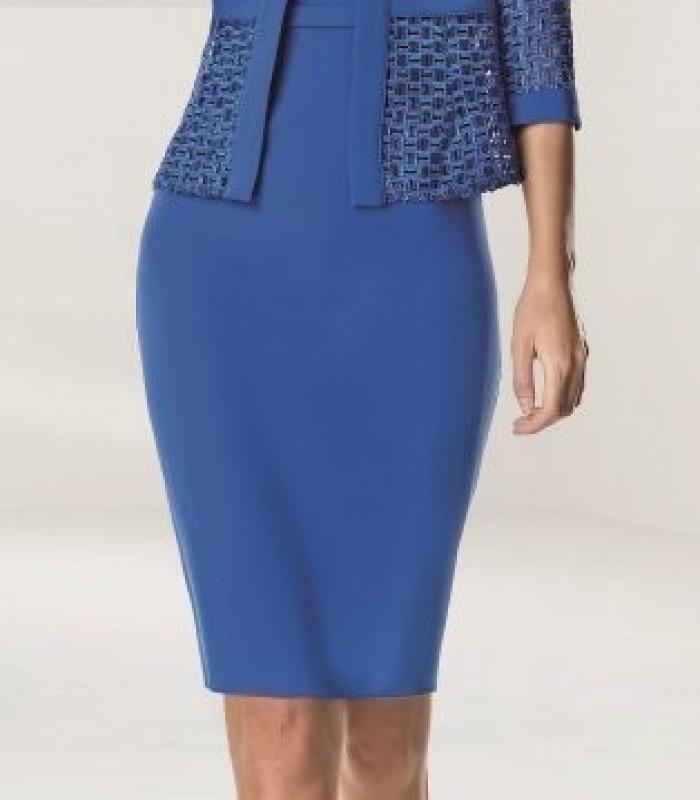 Short straight dress  and asymmetric print jacket