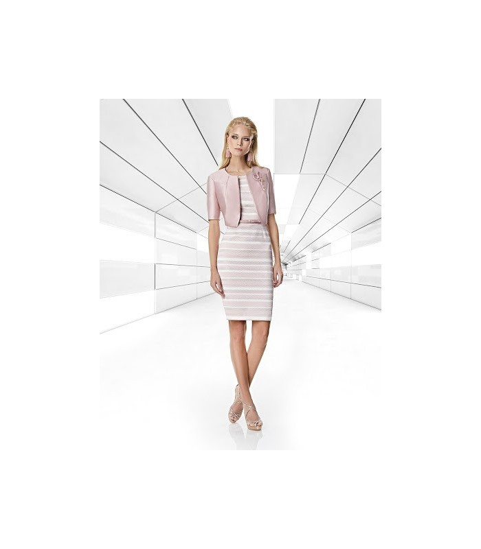 Striped pale pink short dress and jacket