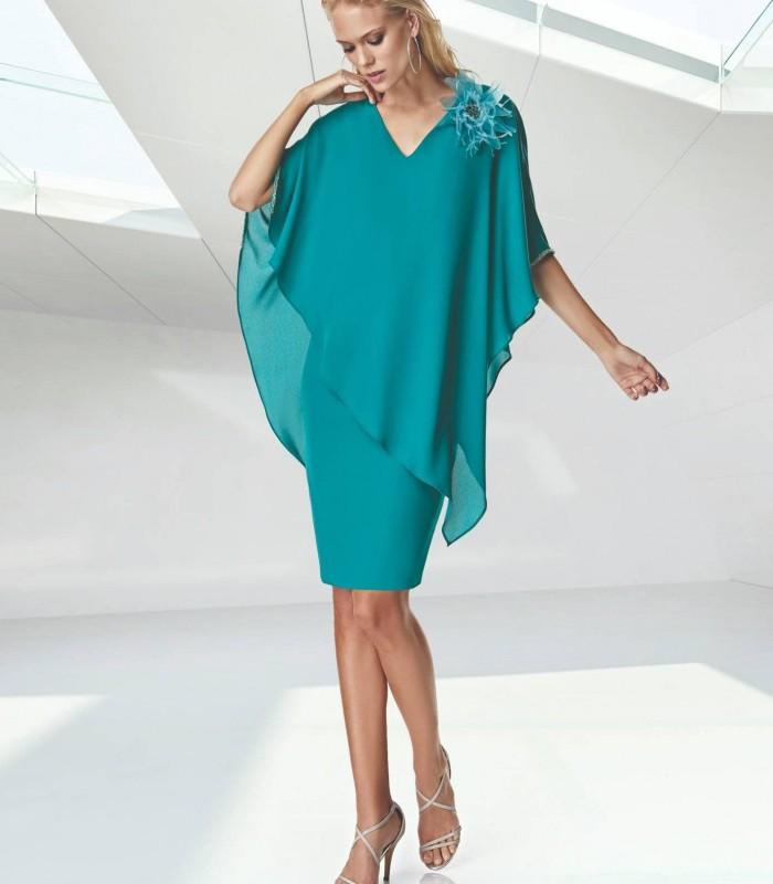 Plain V-neckline Tunic Short Dress