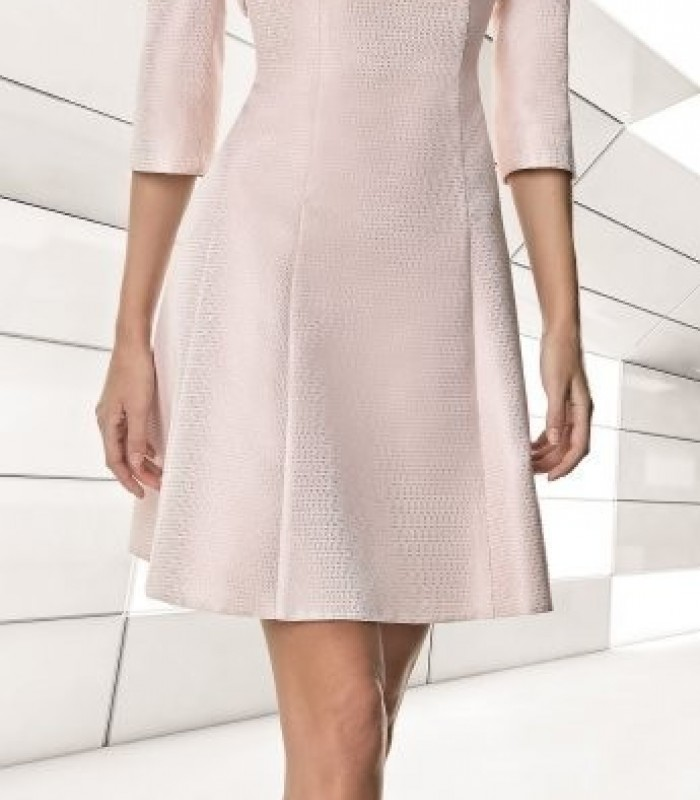 Jacket and deep pink dress set in pale pink