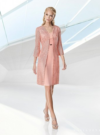 Short dress and pink embroidered coat