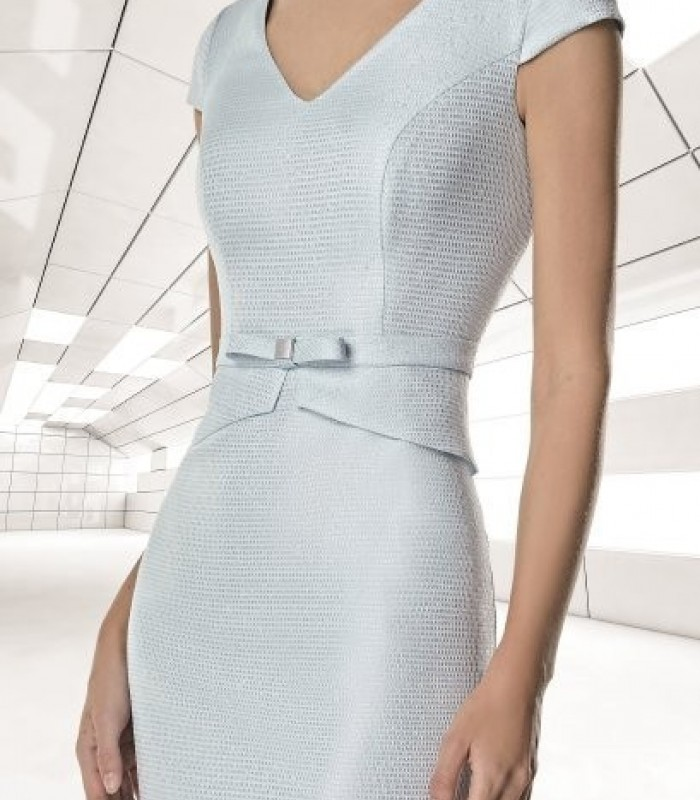 Striped coat and short brocade dress