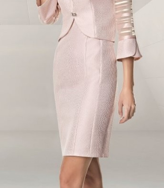 Jacket and short brocade dress set