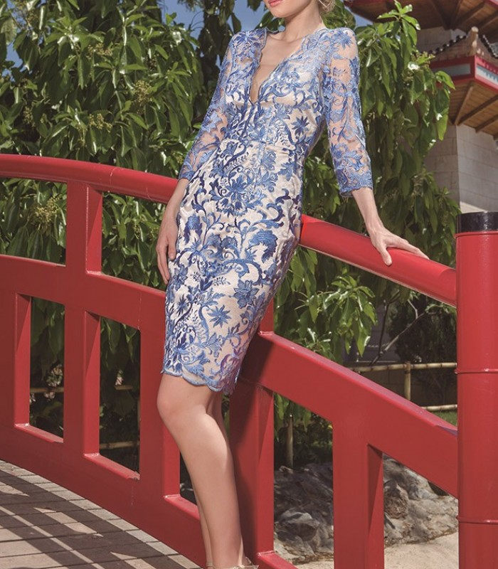Olimara dress with floral embroidery and transparency