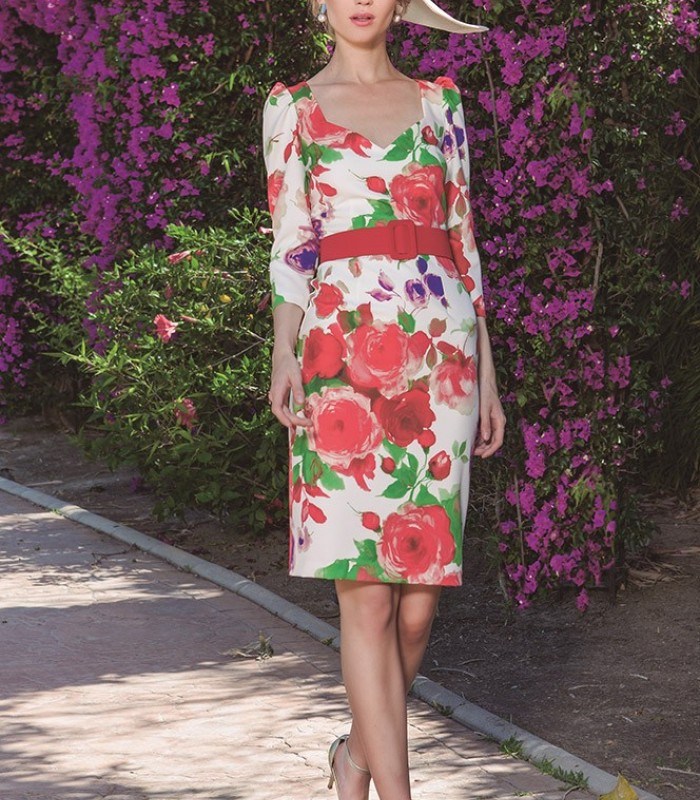 Short printed dress with sweetheart neckline