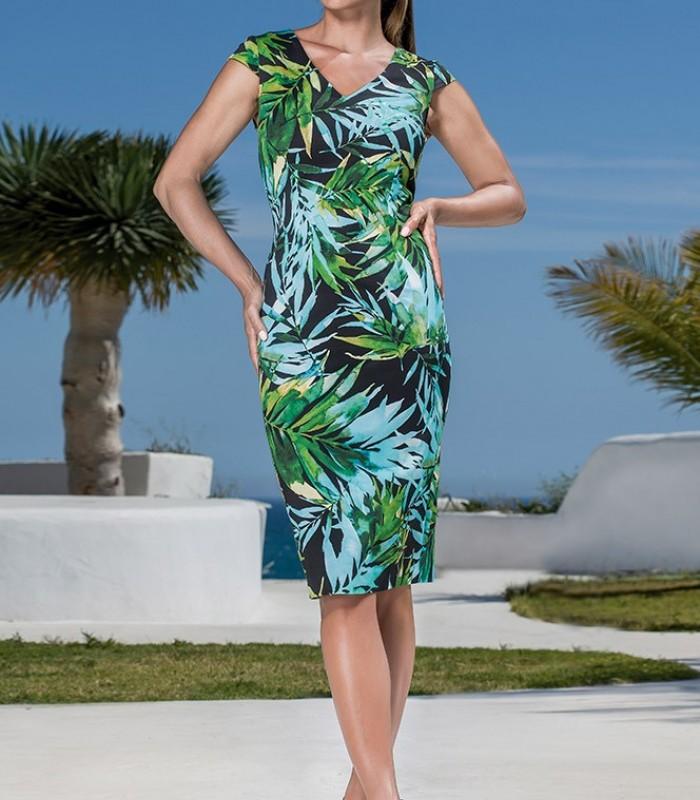 Dark leaf print dress