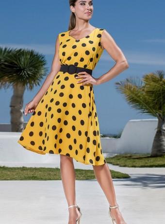 Polka dot dress and flared skirt