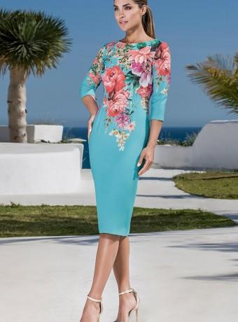 Vestido corto azul y estampado de flores