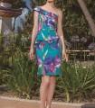 Printed asymmetric neckline and ruffles dress
