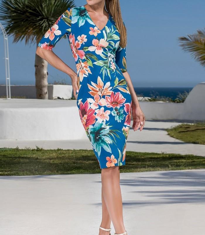 Vestido azul marino estampado manga francesa
