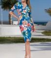 Navy blue print French sleeve dress