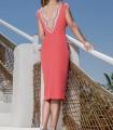 Decorated neckline short dress