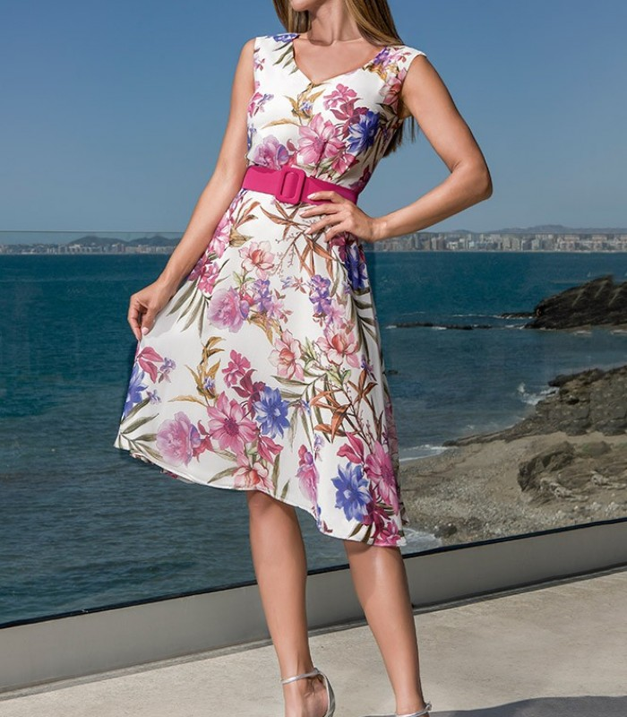 Printed light dress with flared skirt