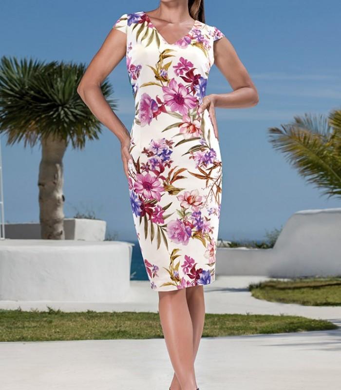 Simple floral print short dress