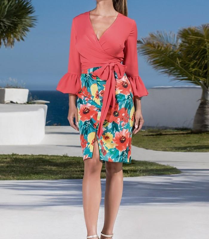 Printed straight skirt