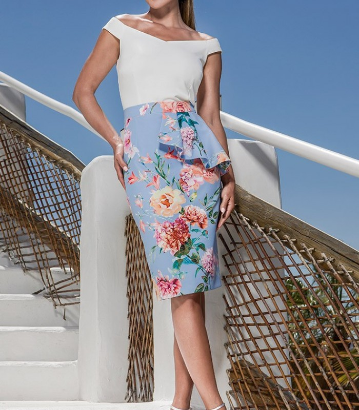 Straight printed skirt with peplum