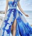 Blue print dress with front slit and asymmetric neckline