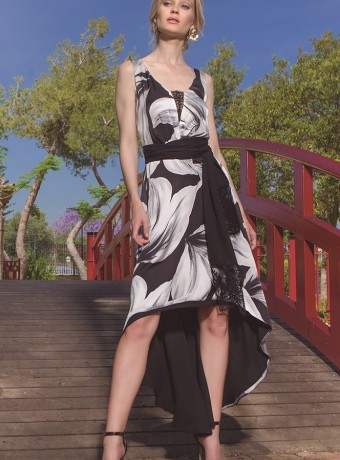 Asymmetric midi dress with black and white print