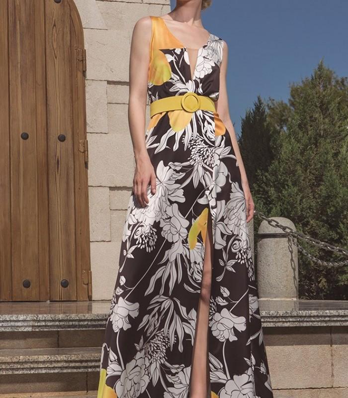 Printed front slit maxi dress