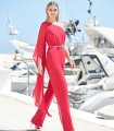 Asymmetric Marbella jumpsuit with long sleeves