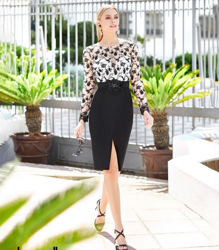 Marbella midi dress with floral print and black skirt