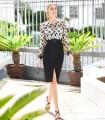 Vestido midi Marbella con estampado floral y falda negra