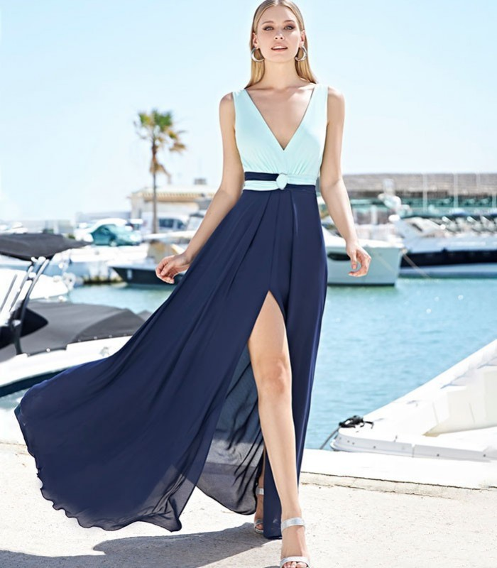 Two-tone Marbella long dress with deep neckline