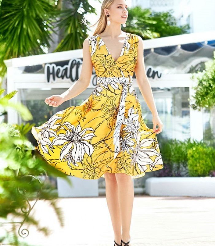 Marbella short dress with floral print and deep neckline