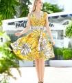 Vestido midi Marbella con estampado floral y escote profundo